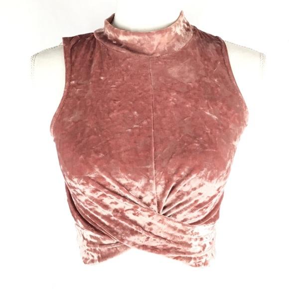 b4bcabf5f9e4d Topshop Women s Velvet Crop Top Pink Sleeveless 2.  M 5af9a77a36b9de9de6841554